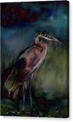 Blue Heron Painting II Canvas Print by Don  Wright