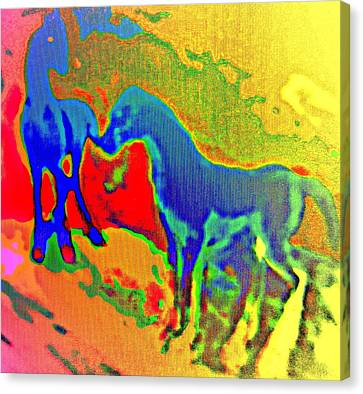 Blue Horses Having A Date  Canvas Print by Hilde Widerberg