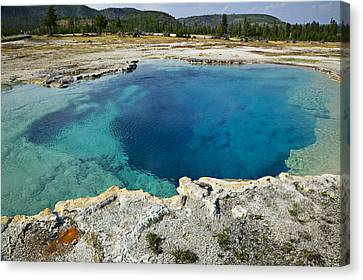 Blue Hot Springs Yellowstone National Park Canvas Print by Garry Gay