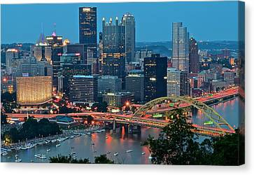 Blue Hour In Pittsburgh Canvas Print by Frozen in Time Fine Art Photography