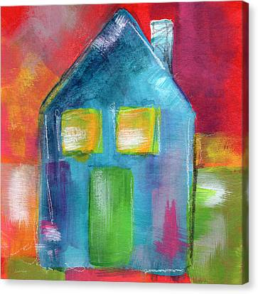 Blue House- Art By Linda Woods Canvas Print by Linda Woods