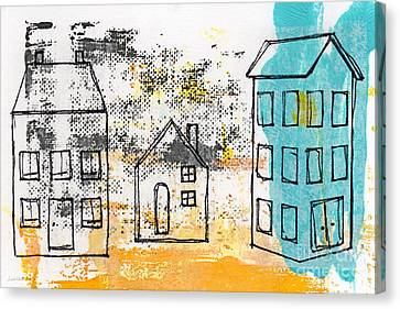 Doodle Art Canvas Print featuring the painting Blue House by Linda Woods