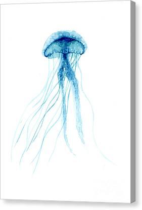 Blue Jellyfish Minimalist Painting Canvas Print by Joanna Szmerdt