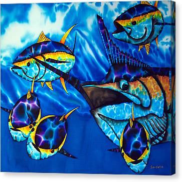 Blue Marlin And Yellowfin Tuna Canvas Print by Daniel Jean-Baptiste