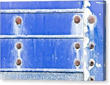 Blue Metal Background  Canvas Print by Tom Gowanlock