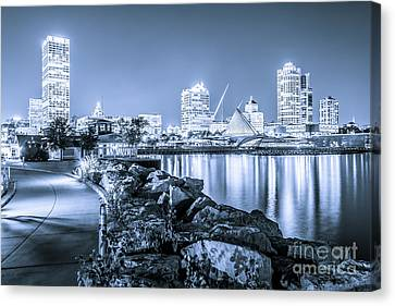 Blue Milwaukee Skyline At Night Picture Canvas Print by Paul Velgos