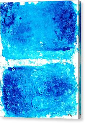 Blue Modern Art - Two Pools - Sharon Cummings Canvas Print by Sharon Cummings