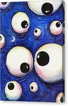 Blue Monster Eyes Canvas Print by Olga Shvartsur