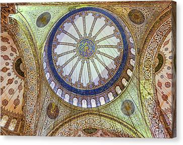 Blue Mosque Ceiling Canvas Print by Phyllis Taylor