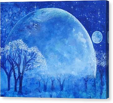 Blue Night Moon Canvas Print by Ashleigh Dyan Bayer