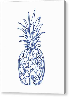 Blue Pineapple- Art By Linda Woods Canvas Print by Linda Woods