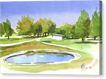 Blue Pond At The A V Country Club Canvas Print by Kip DeVore
