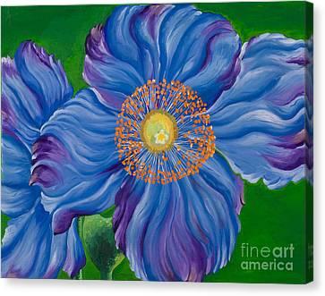 Blue Poppies Canvas Print by Sweta Prasad