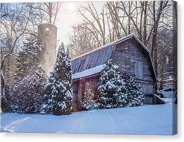 Blue Ridge Mountains Nc Maggie Valley Winter Barn Canvas Print by Robert Stephens