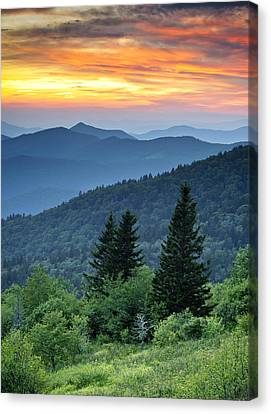 Blue Ridge Parkway Nc Landscape - Fire In The Mountains Canvas Print by Dave Allen