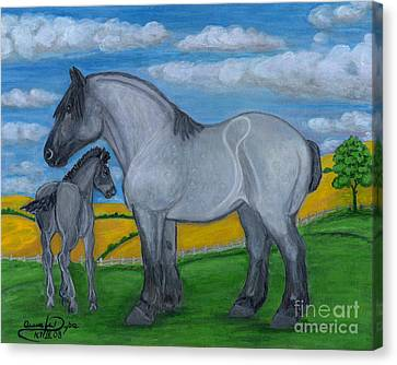 Blue Roan Mare With Her Colt Canvas Print by Anna Folkartanna Maciejewska-Dyba