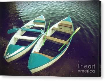 Blue Row Boats Canvas Print by Carlos Caetano