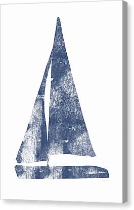 Blue Sail Boat- Art By Linda Woods Canvas Print by Linda Woods