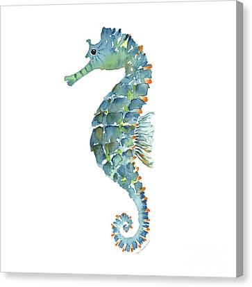 Blue Seahorse Canvas Print by Amy Kirkpatrick
