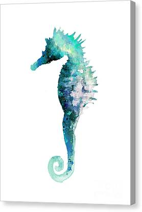 Blue Seahorse Watercolor Poster Canvas Print by Joanna Szmerdt