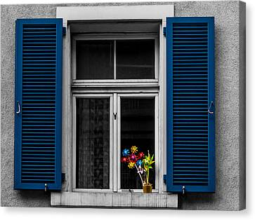 Blue Shuttered Window Canvas Print by Kaleidoscopik Photography