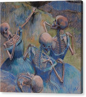 Blue Skelly Dancers Canvas Print by Marie  Marfia