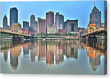 Blue Sky Reflecting Water Canvas Print by Frozen in Time Fine Art Photography