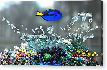 Blue Tang Collection Canvas Print by Marvin Blaine