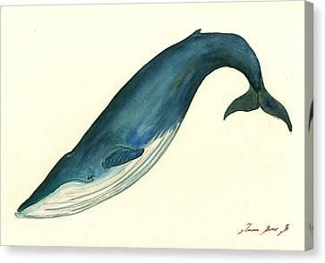 Blue Whale Painting Canvas Print by Juan  Bosco