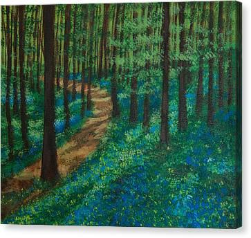 Bluebell Forest Canvas Print by Elizabeth Mundaden