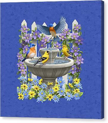 Bluebird Goldfinch Birdbath Garden Royal Blue Canvas Print by Crista Forest