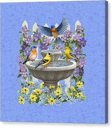 Bluebird Goldfinch Birdbath Garden Light Blue Canvas Print by Crista Forest