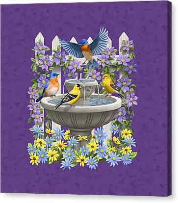 Bluebird Goldfinch Birdbath Garden Mauve Canvas Print by Crista Forest
