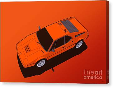 Bmw M1 E26 Red Orange Canvas Print by Monkey Crisis On Mars