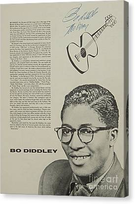 Bo Diddley Poster Autographed  Canvas Print by Pd
