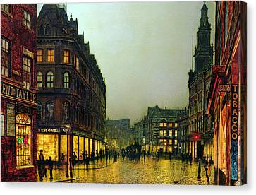 John Atkinson Grimshaw Canvas Print featuring the painting Boar Lane by John Atkinson Grimshaw