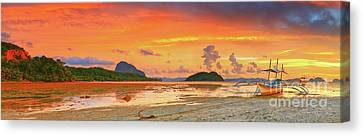 Boat At Sunset Canvas Print by MotHaiBaPhoto Prints