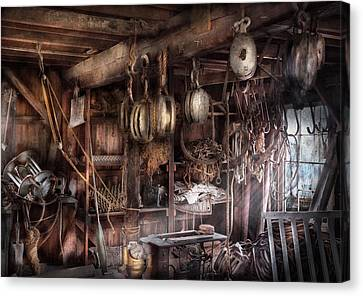 Boat - Block And Tackle Shop  Canvas Print by Mike Savad