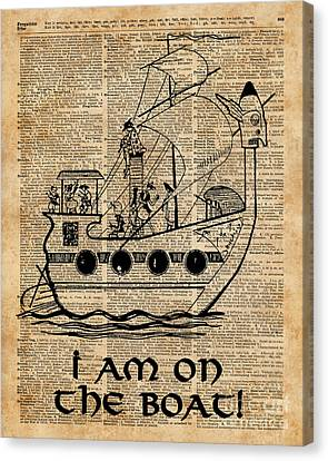 Boat Expedition,ship Excursion,music Crew,vintage Ink Dictionary Art Canvas Print by Jacob Kuch