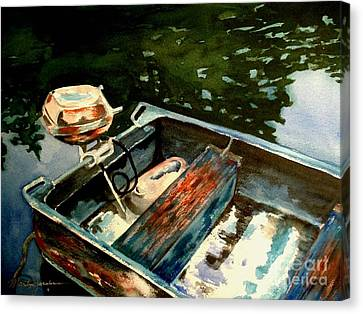 Boat In Fog 2 Canvas Print by Marilyn Jacobson