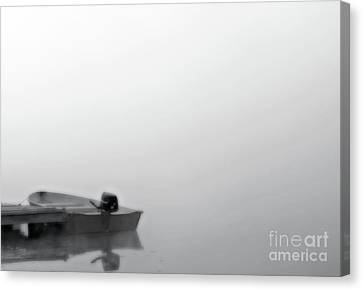 Boat In Fog On Lake Black And White Canvas Print by Randy Steele