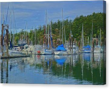 Boat Mast Reflections Olympic Coast Canvas Print by Dan Sproul