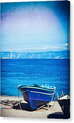 Boat On Messina Strait, Italy Canvas Print by Silvia Ganora