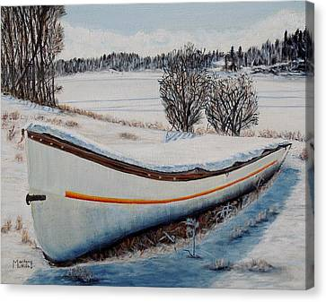Boat Under Snow Canvas Print by Marilyn  McNish