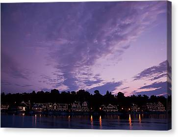Boathouse Row In Twilight Canvas Print by Bill Cannon