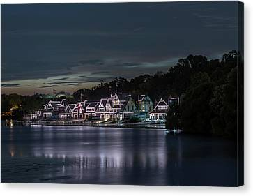 Boathouse Row Philadelphia Pa At Night  Canvas Print by Terry DeLuco