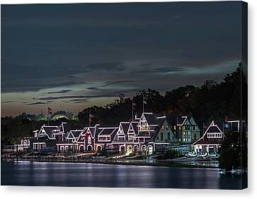 Boathouse Row Philly Pa Night Canvas Print by Terry DeLuco