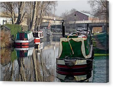 Boats At Horninglow Basin Canvas Print by Rod Johnson