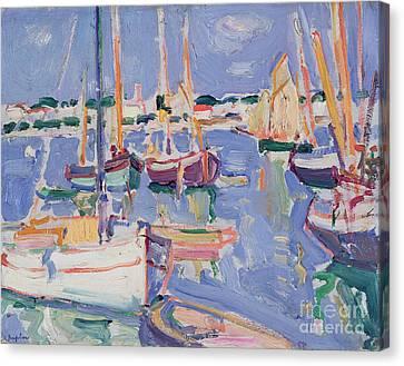 Boats At Royan Canvas Print by Samuel John Peploe