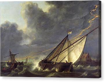 Boats In The Estuary Of Holland Diep In A Storm Canvas Print by Aelbert Cuyp